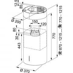 COIFA FRANKE ILHA TUNNEL PLUS 3707 IXS 37CM COM PAINEL SOFT TOUCH DE 3 VELOCIDADES EM AÇO INOX BLACK 220V