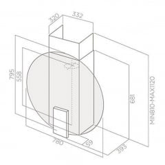 Coifa de Parede 78cm Preta 220v Space EDS Elica