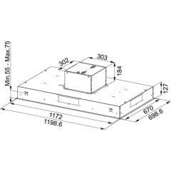 COIFA FRANKE DE EMBUTIR CEILING FCBI 1204 C 120CM DESIGN ULTRA SLIM DE 3 VELOCIDADES EM AÇO INOX 220V