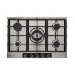 COOKTOP CUISINART CASUAL COOKING A GÁS 5 QUEIMADORES 75CM MC. CENTRAL INOX 220V