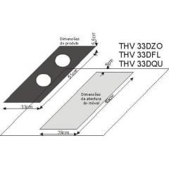COOKTOP TECNO ORIGINAL THV33 DFL2 MESA VITROCERÂMICA PRETA COM MOLDURA EM INOX 1 QUEIMADOR DUALFLAME DE 5.000 W 33CM 220V