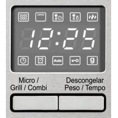FORNO MICRO-ONDAS TECNO COMBINADO VELOX TM25 EM INOX ESCOVADO PUXADOR CURVO GRILL CAPACIDADE DE 25 LITROS 60CM 220V
