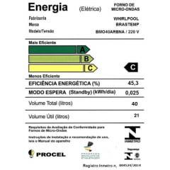 FORNO MICRO-ONDAS BRASTEMP 45CM 40 LITROS EMBUTIR INOX 220V