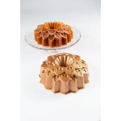 FORMA PARA BOLO MARISSA LOUNINA EM ALUMÍNIO FUNDIDO COM ANTIADERENTE AMOUR CAKE PAN BRONZE 24CM 2,1 LITROS