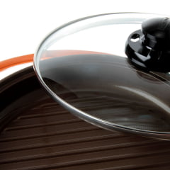 GRILL ROICHEN PAN WITH GLASS REVESTIDA EM CERÂMICA COM TAMPA DE VIDRO COR LARANJA 26CM 1,5 LITROS